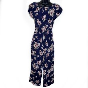 Almost Famous Sleeveless Floral Long Romper Navy M